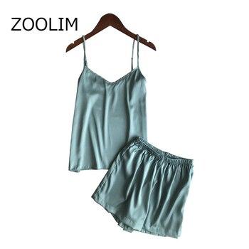 ZOOLIM Women Pajamas Sets Satin Sleepwear Silk Pijama Ladies Nightwear Womens with Shorts Pyjama