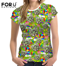 FORUDESIGNS Cat Shirt t shirt Funny Printing Womens tees Tops Elegance Ladies Vogue 3D Animal T Street Casual tee bt