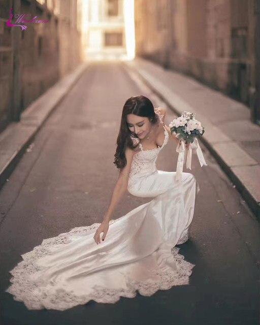 c6f157fe8190 Waulizane Enchanting Satin Sweetheart Mermaid Wedding Dresses Embroidery  Sleeveless Spaghetti Strap Beading Applique Bridal Gown