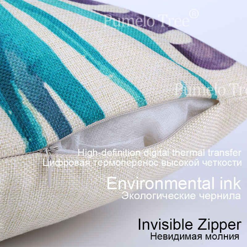 Геометрическая подушка мягкая крышка скандинавского океана украшения дома подушки постельные принадлежности на заказ принт скандинавский стиль синяя белая наволочка