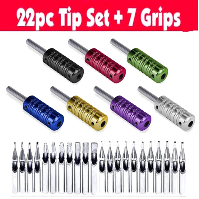 Free shipping NEW! 7 ribbed Tattoo Aluminum alloy Machine Grips Tubes Back Stem W/ 22pcs 304 stainless steel tips kit