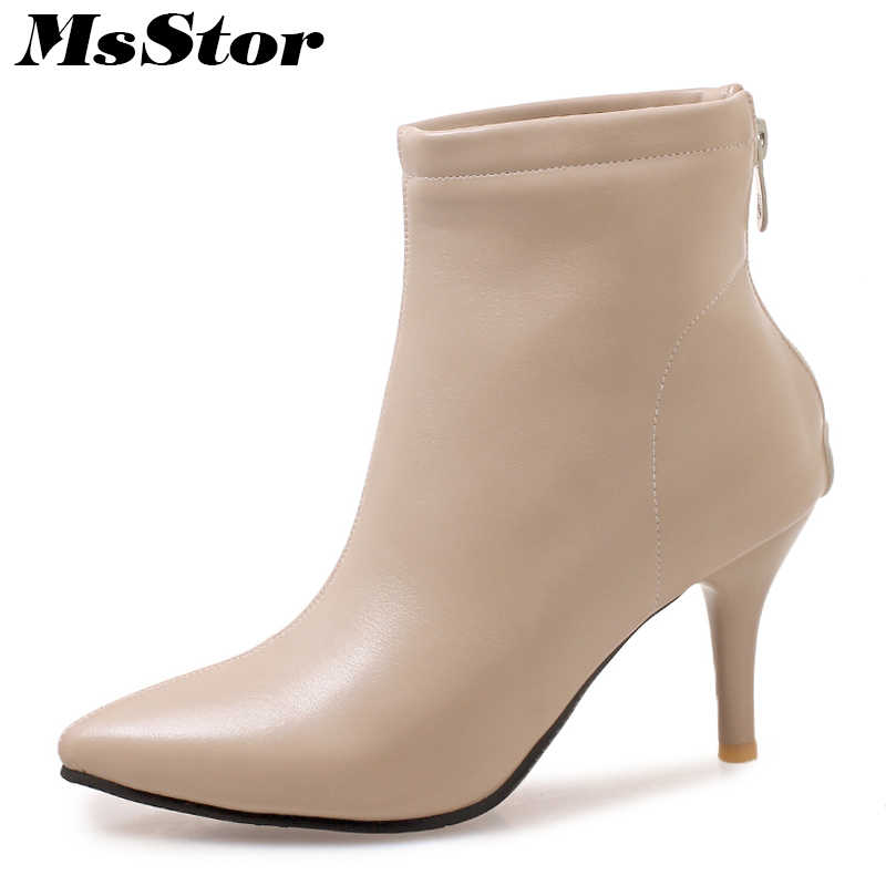 MsStor Pointed Toe High Heel Boots Shoes Woman Fashion Zipper Cheap Ankle  Boots Women Shoes Thin eb579c2bc1bd