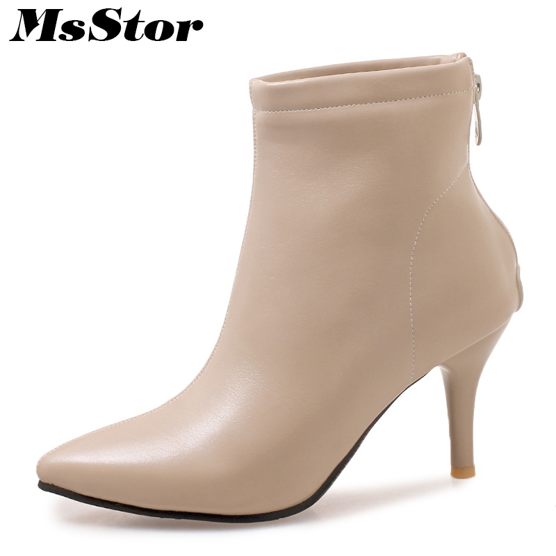 MsStor Pointed Toe High Heel Boots Shoes Woman Fashion Zipper Cheap Ankle Boots Women Shoes Thin Heel Women Boots Plus Size