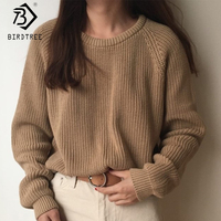 Корейский модный Женский вязаный свитер с длинным рукавом, однотонный пуловер с круглым вырезом и джемпер, свободный свитер, горячая Распро...