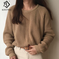 2018 корейский стиль модные женские полный рукав женский вязаный свитер Твердые o-образным вырезом пуловер свободные свитер, горячая
