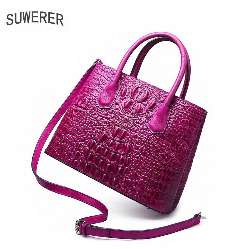 Leder Frauen Luxus Black Taschen Muster Echtem Krokodil Für Neue brown red Tasche Aus 2019 purple Handtaschen Suwerer 4xfwAt4