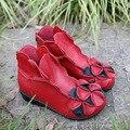 2016 Inverno Novas mulheres da moda sapatos de couro genuíno altura crescente sapatos flats ankle boots botas curtas estilo nacional