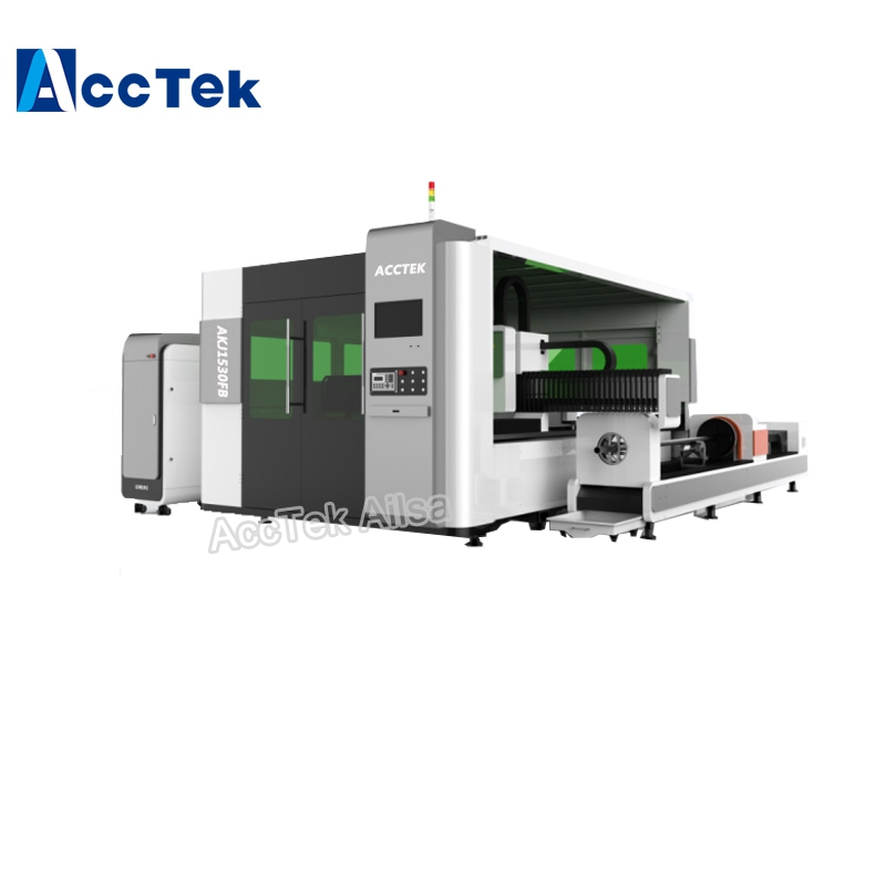 500W 1000W 2000W Sheet Metal / Carbon Steel / Brass / Aluminum Fiber Laser Cutting Machine With Automatic Feeding System