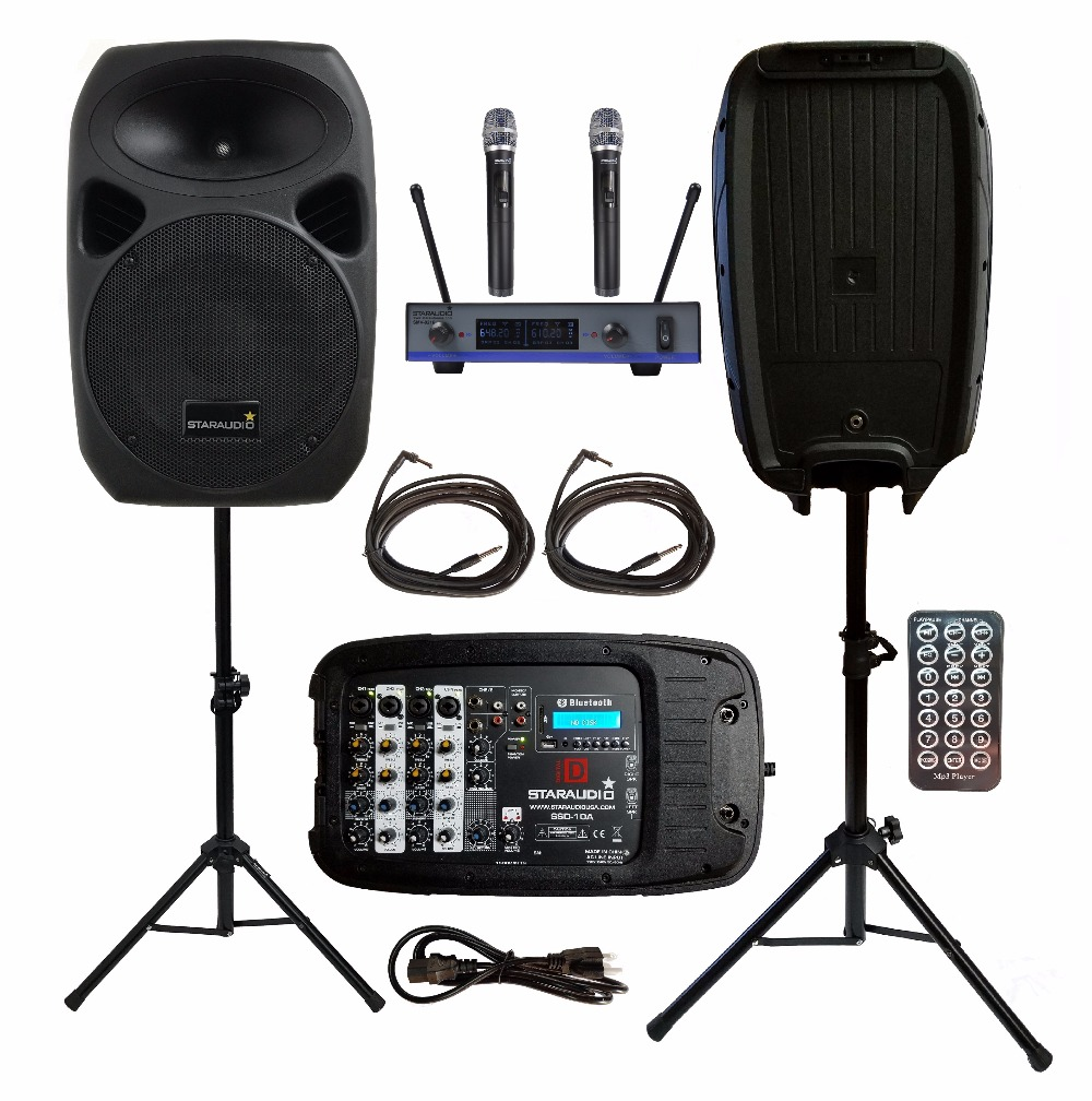 STARAUDIO 2Pcs 10inch 1500W PA DJ KTV Stage Passive BT SD Speakers W/ 2CH UHF Wireless Mics Stands Powered Mixer Cables SSD-10A