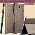 3 en 1 Cubierta de Cuero de Lujo Elegante de la PU para Samsung Galaxy Tab 8.0 T350 T351 T355 Tablet Case + Protector de Pantalla + Stylus pluma