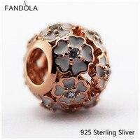 925 Sterling Silver-Bạc-Jewelry Rose Gold (Mạ) Màu Trắng Men & Rõ Ràng CZ Flower Quyến Rũ Phù Hợp cho Pandora Charms Lắc