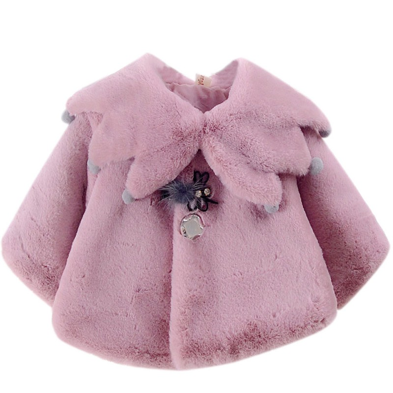 New Autumn Sweet Baby Girls Cute Style Princess Warm Party Snow Wear Kids Cloak OuterwearXb
