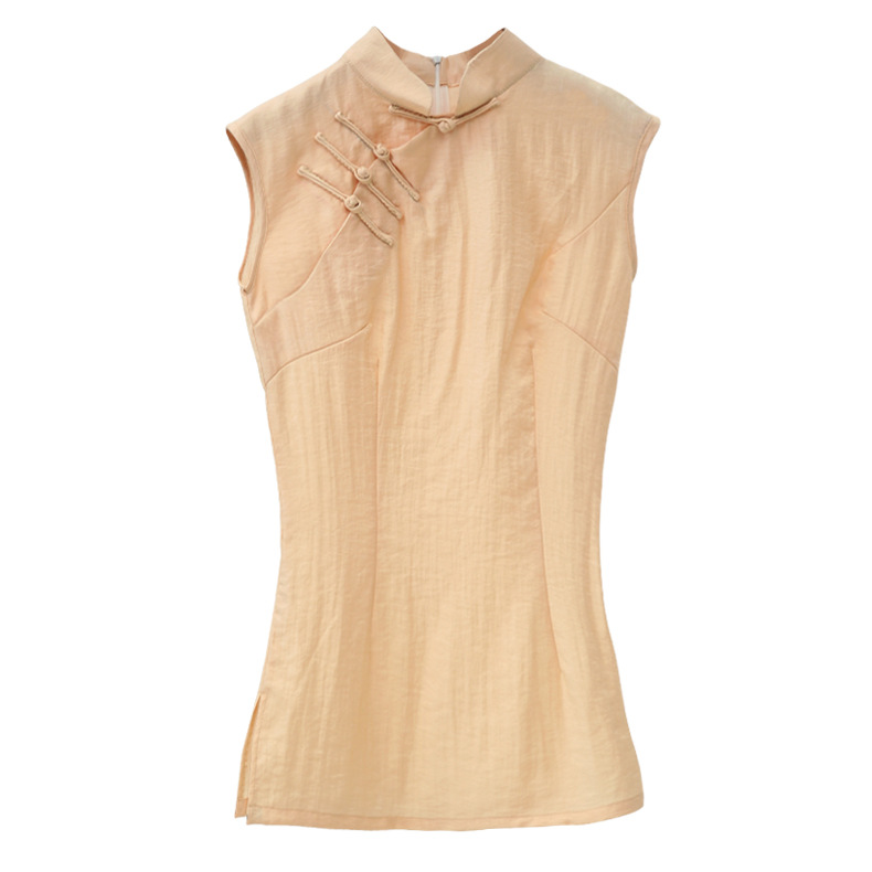 S Blouse Manches Moderne Dames Sy119 Lin Solide Sans Mandarin Chemise Sexy Lumière xxl Coton Collar Chinois Rose Style Femmes Zwd0wagqn