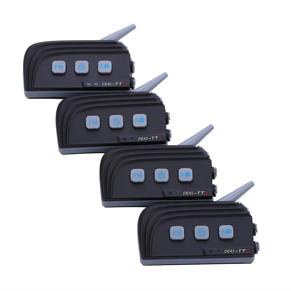 4 Pcs/Lot double Bluetooth 1200 M casque de Moto Interphone sans fil Moto Interphone pour 4 coureurs avec casque stéréo FM