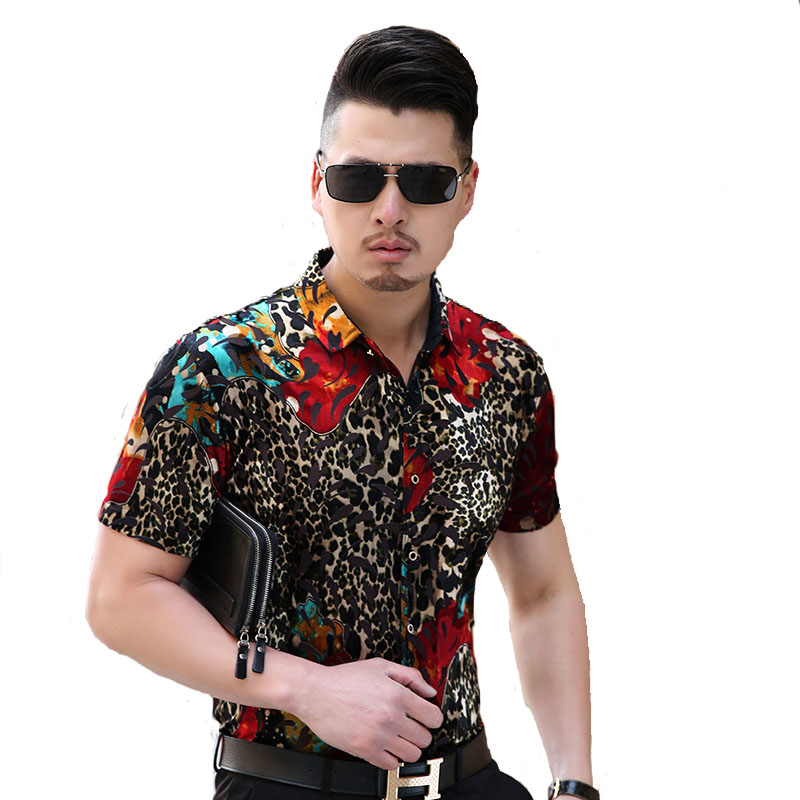 Fashion Leopard Print Gold Velvet Mens Short-Sleeved Shirt 2017 Leisure Breathable Hollow Out Slim Plus Silk Flower Shirts M-3XL