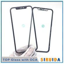 10 pçs imprensa fria 3 em 1 vidro com quadro cola oca para iphone xr frente exterior tela de vidro substituição refurbish reparação