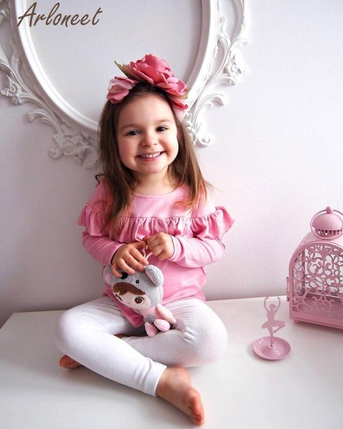 Детская, блузка с длинным рукавом шляпа и 3 шт. для маленьких Обувь для девочек одежда с бантами комплект из топа и штанов p30 dec25