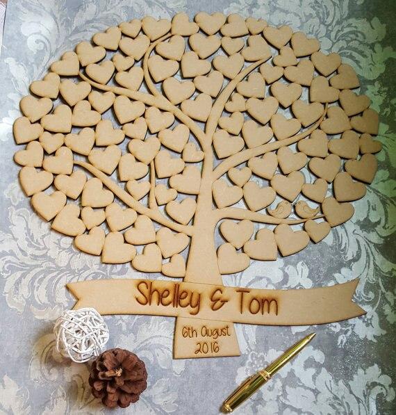 Livre d'or personnalisé Nature arbre de mariage, oiseaux d'amour en bois, livre d'or arbre généalogique, arbre de vie, Drop Box coeur