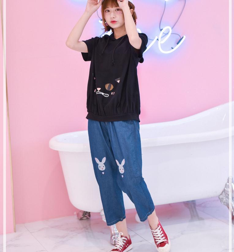 Light Blue Deep Blue Kawaii Bunny Embroidery Jeans Pants Women Summer Casual Straight Pants With Pockets Fashion Ninth Pants6