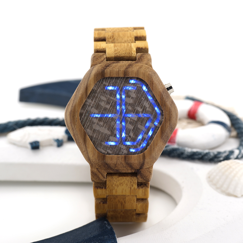 ФОТО BOBO BIRD E02 LED Digital Watch Mens Kisai Night Vision Zebra Wood Watch Minimal Design With Bamboo Strap A Unique Time Display