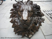 Chinese Pure BRASS HSBC Lions Head Wall Hang Family Decor Art Sculpture Garden Decoration BRASS Finish Buddha Healing statue