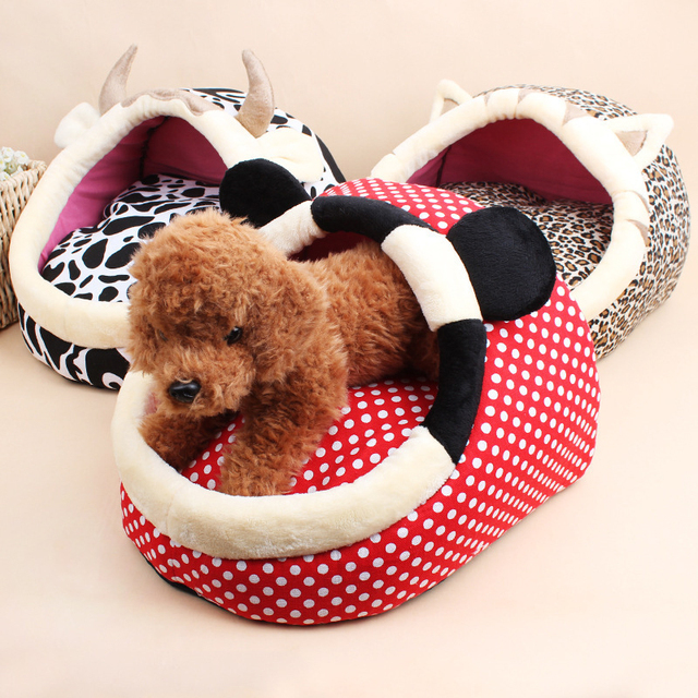 Leopard Cow Cartoon Dog Bed House Winter Warm Cat Beds Sponge Padded Puppy Sofa S/L