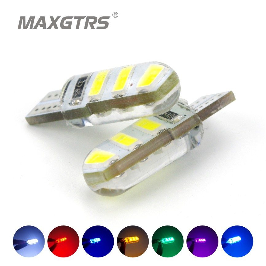 10x Newest T10 194 168 W5W 6Smd 5730 Car Led Silicone Shell Auto Dome Parking Lights Car Side Wedge Light Lamp Bulb Car Styling car led 1pcs t10 194 w5w dc 12v canbus 6smd 5050 silicone shell led lights bulb no error led parking fog light auto car styling