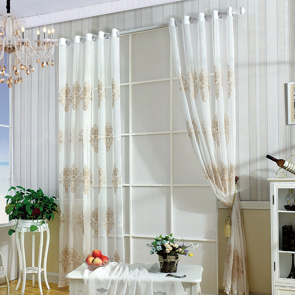 Us 15 18 31 Off 3d Embroidery Flowers Curtain White Gold Kitchen Voile Curtain Roman Curtain Living Room European American Style 1pc In Curtains