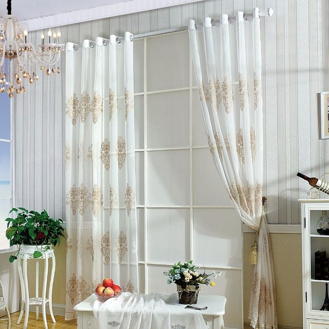 3d embroidery flowers curtain white gold kitchen voile curtain roman ...