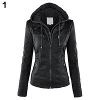 Fashion Women Convertible Collar Faux Leather Coat Detachable Hooded Jacket Solid Color Slim Jacket For Spring