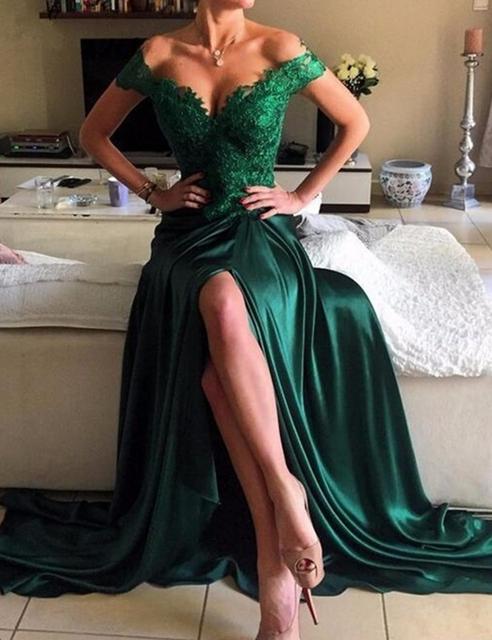 Elie Saab Vestido de Noche Largo Para La Boda Tapa de Color Verde Oscuro Diseño de la Fractura de manga Satén Vestidos De Noite Párr Casamento vestido Noite