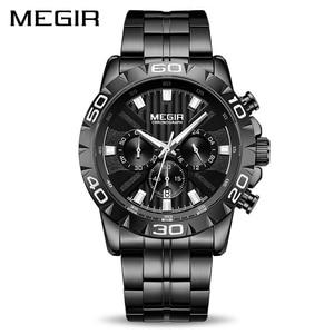 Image 2 - MEGIR мужские s часы лучший бренд класса люкс черные из нержавеющей стали бизнес Кварцевые часы мужские часы Relogio Masculino Erkek Kol Saati