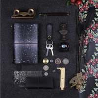 2018 Yiwi Black Night Color Star Sky Standard Pocket Cow Genuine Leather Travel Notebook Diary Planner Stationery