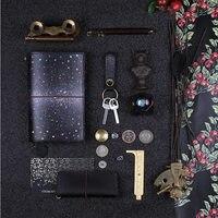 Yiwi Black Night Kleur Star Sky Standaard Pocket Koe Echt Lederen Travel Notebook Dagboek Planner Briefpapier