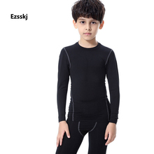 Ezsskj Kids Boys Long Sleeve Crew Neck Sports T Shirt Fitness Running Shirts Tops Yoga GYM Compression Tights Shirts Black Lime