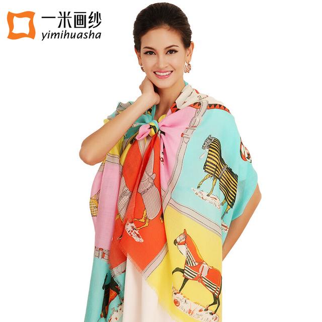 Diseñador de la marca femenina Otoño invierno de lana chal y bufandas sarga knited impresión caballo echarpes fulares femme sobredimensionar 200*73 CM