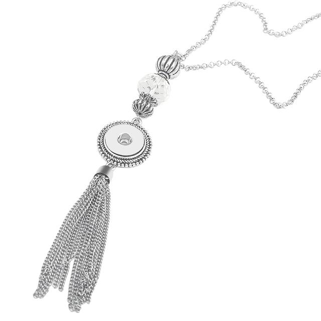 Vintage Long Snap Choker Collar Tassel Necklace