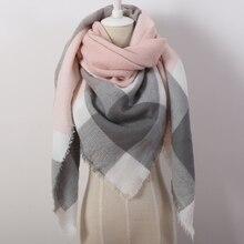 2016 Fashion Brand Designer Cashmere Triangle Pink Scarf Winter Women Shawl Pashmina Cape Blanket Plaid Foulard