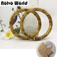 1 Pairs 2 Pieces 11cm 15cm Natural Rattan Round Carry O Shape Handles Handmade Pastoral Style