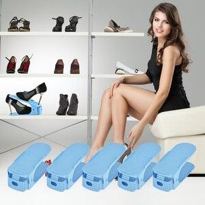 Image 2 - 10 stücke Kunststoff Schuhe Rack Shleves 3 Stufen Einstellbare Schuh Halter Speichern Raum Schuhe Organizer Doppel Stehen Regal für Wohnzimmer zimmer