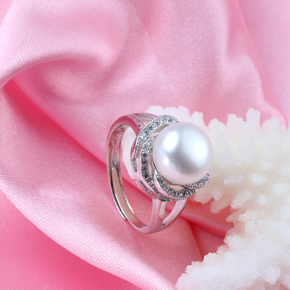 Wholesale Top quality Full Zircon Ring 100% real natural pearl ring ...