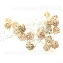 5M 20 LED Warm White Rattan Ball LED String Lighting Holiday Christmas Wedding Party Curtain Decoration Lights Drop Shipping