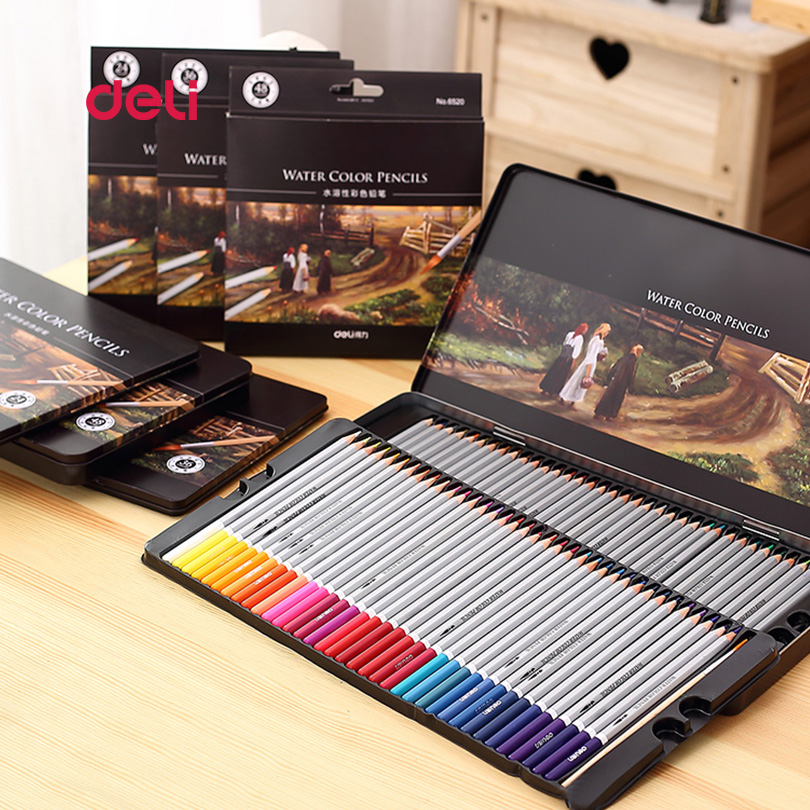 Deli bureau papeterie 72 couleurs crayon de couleur ensemble pour dessin peinture croquis boîte en fer blanc Art fournitures scolaires crayon professionnel