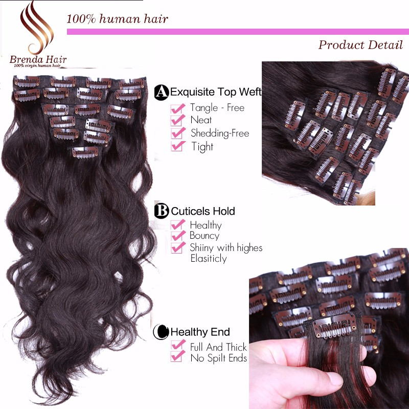 Clip in human hair extensions golden blonde #27 clip in hair extensions for black women Brazilian virgin human hair Clip-Ins 7PC (2)