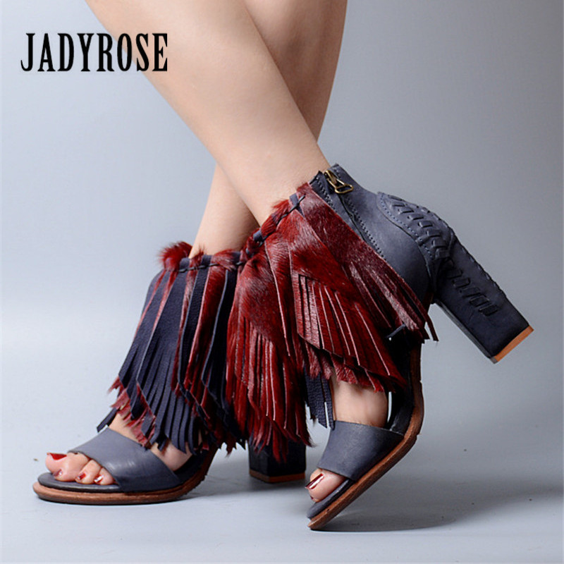 Jady Rose Horsehair Tassels Women Summer Sandals Fringed Chunky High Heels Fashion Gladiator Sandal Women Pumps Valentine Shoes excellent design sandalias femininas tassels sandal summer shoes fashion design high heels gladiator womens sandals shoes