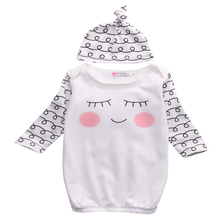 Hi Hi Baby Store Sleepy Eyes Rosy Cheeks Newborn Take Home Cotton Outfit Baby Gown and Hat Infant Gift
