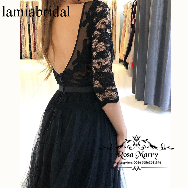 Sexy Illusion Long Prom Dresses 2019 A Line Half Sleeves Lace Appliques High Split Tulle Vestidos De Fiesta Largos Formal Party