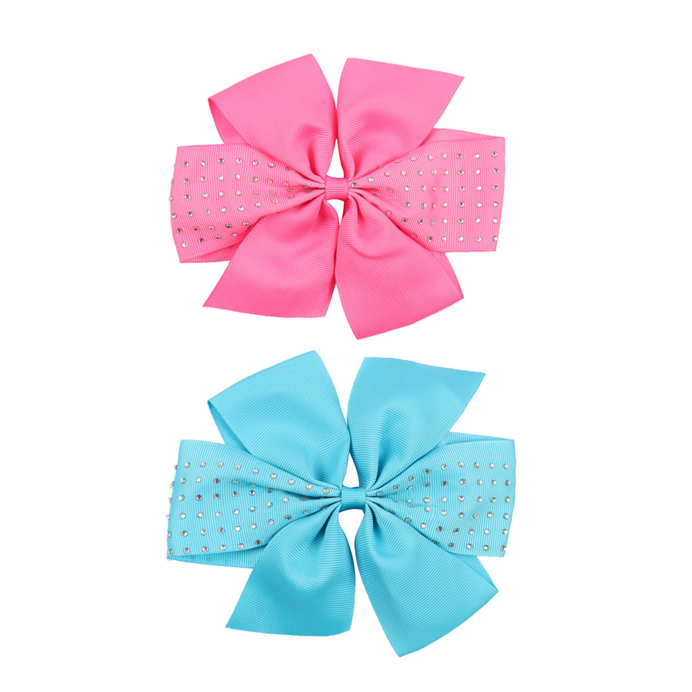 2 Pieces 6'' Girls' Solid Grosgrain Ribbon Hair Bow Boutique Rhinestone Pinwheel Hairbows for Kids Hair Clip Hair Accessories grosgrain ribbon kids boutique hair bow alligator clip toddlers elastic hair rubber bands hair ties girls hair accessories z21