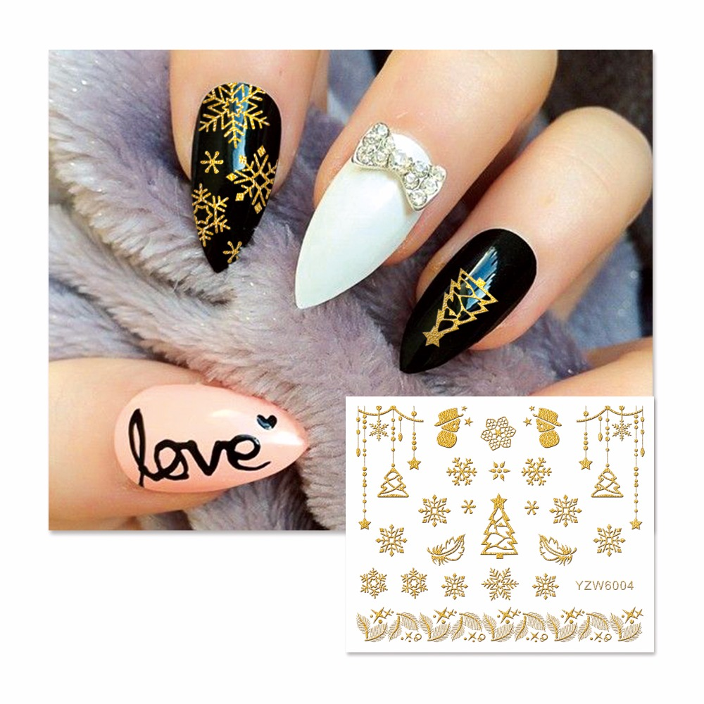 FWC New Styles 3D Nail Stickers Beauty  Hot Gold Christmas Design Nail Art Charms Manicure Bronzing Decals Decorations Tools 24pcs lot 3d nail stickers beauty summer styles design nail art charms manicure bronzing vintage decals decorations tools jh151