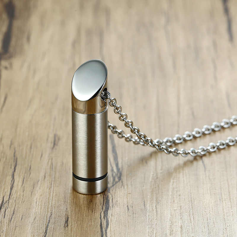 Irregular Pill Box Necklace Cremation Jewelry Memorial Urn Necklace in Stainless Steel Urn Jewelry for Ashes
